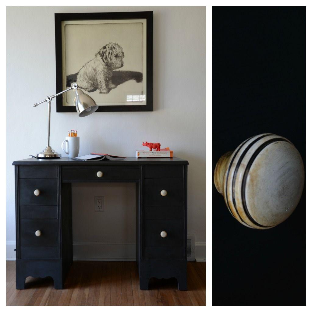 gray/black boys desk paintedestuary. #painted #paintedfurniture