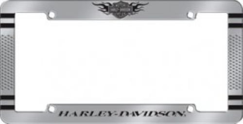 harley davidson silver and black flame logo knurl license plate frame made of chrome with knurls