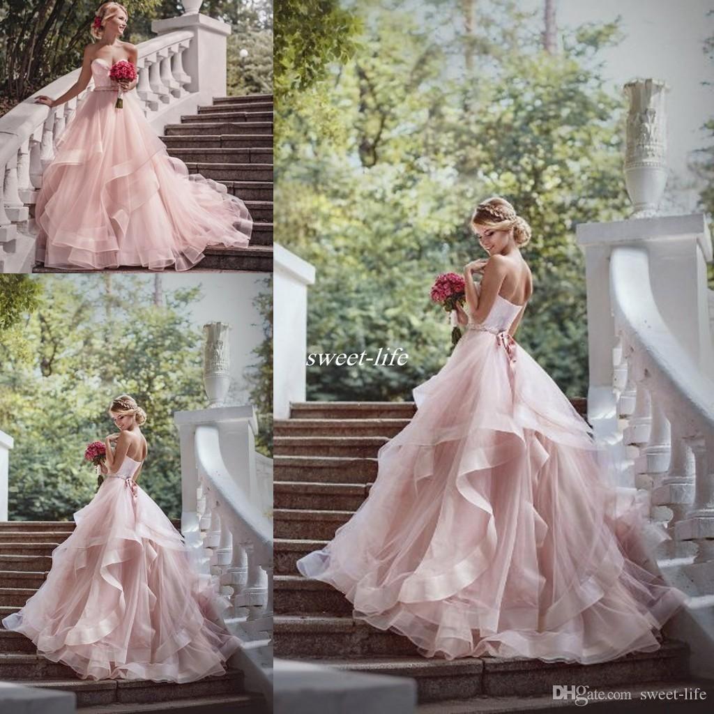 Romantic Blush Ball Gown Wedding Dresses Ruffles Organza Beads Lace Sweetheart Neck Sash 2016 C Ball Gowns Wedding Sweetheart Wedding Dress Tulle Wedding Dress