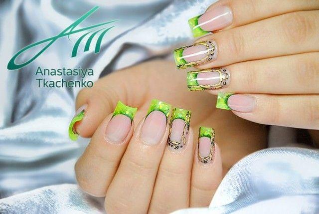 Anastasiya Gel Nail Design Grun Schwarz Nageldesign Bilder By