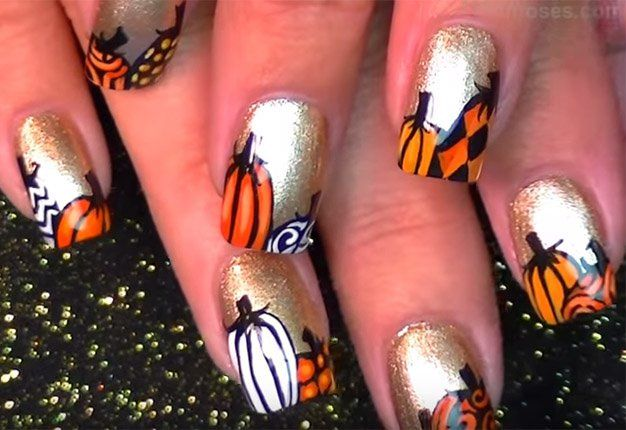 Fall Nail Art Pumpkin Design DIY Projects Craft Ideas & How To's for Home Decor with Videos