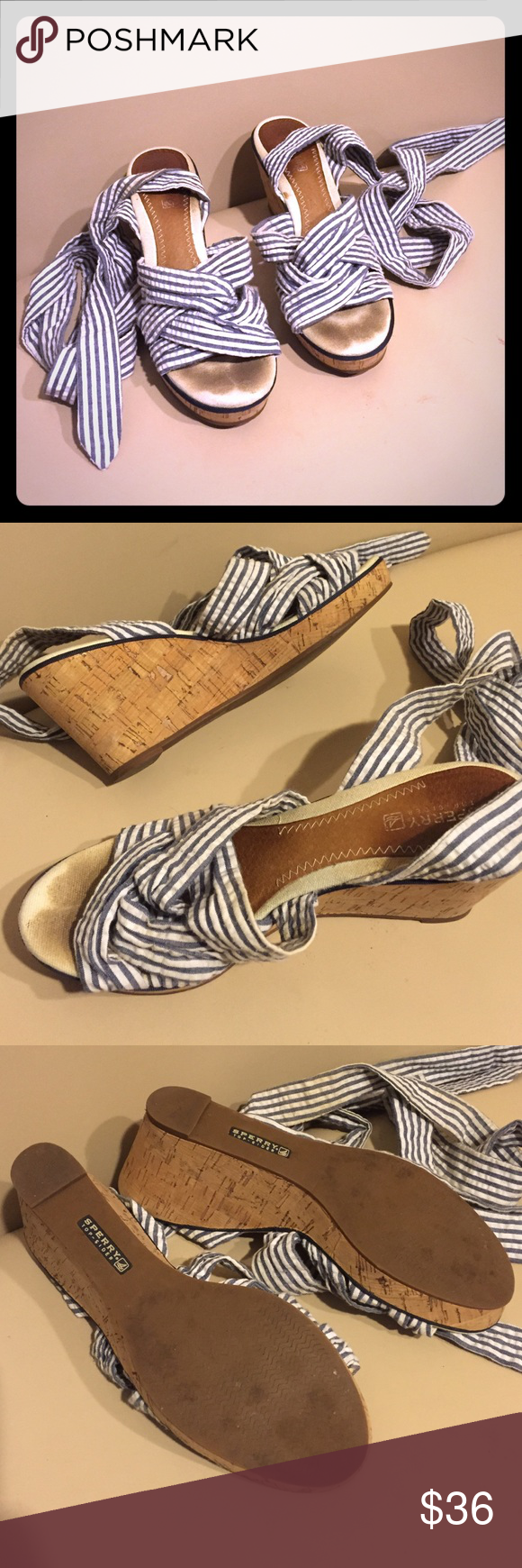 Stripped Lace-Up Sperry Top-Sider Wedges Size 9 Cute and fun stripped lace up cork wedges by Sperry size 9. Overall great condition, but they do need to be cleaned a little. So much life left in them! Sperry Top-Sider Shoes Wedges