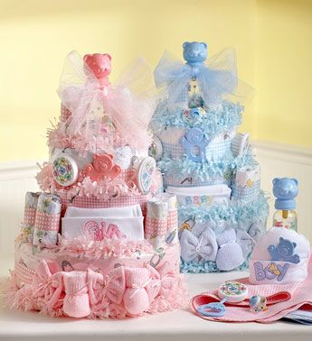 Classic pink and blue diaper cakes