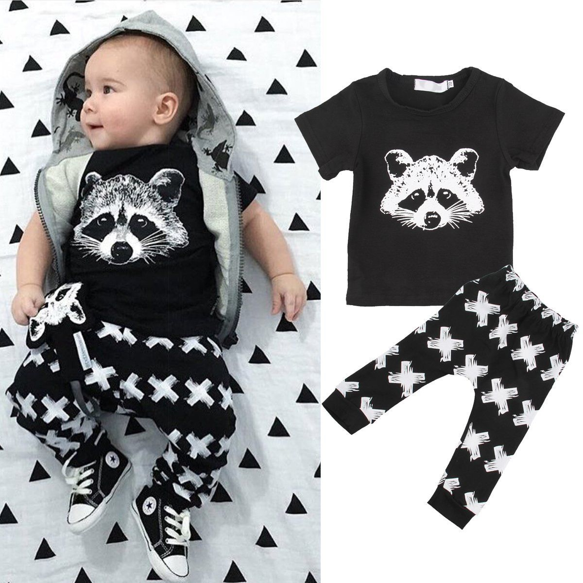 Newborn Toddler Kids Baby Boy T-shirt Tops+Long Pants 2PCS Outfits Clothes Set