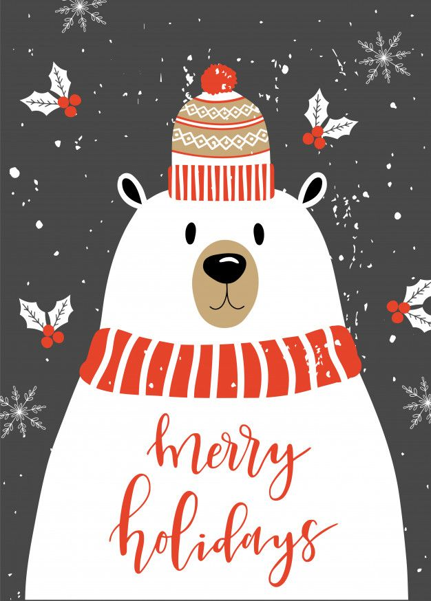 Merry Christmas Card With Polar Bear.