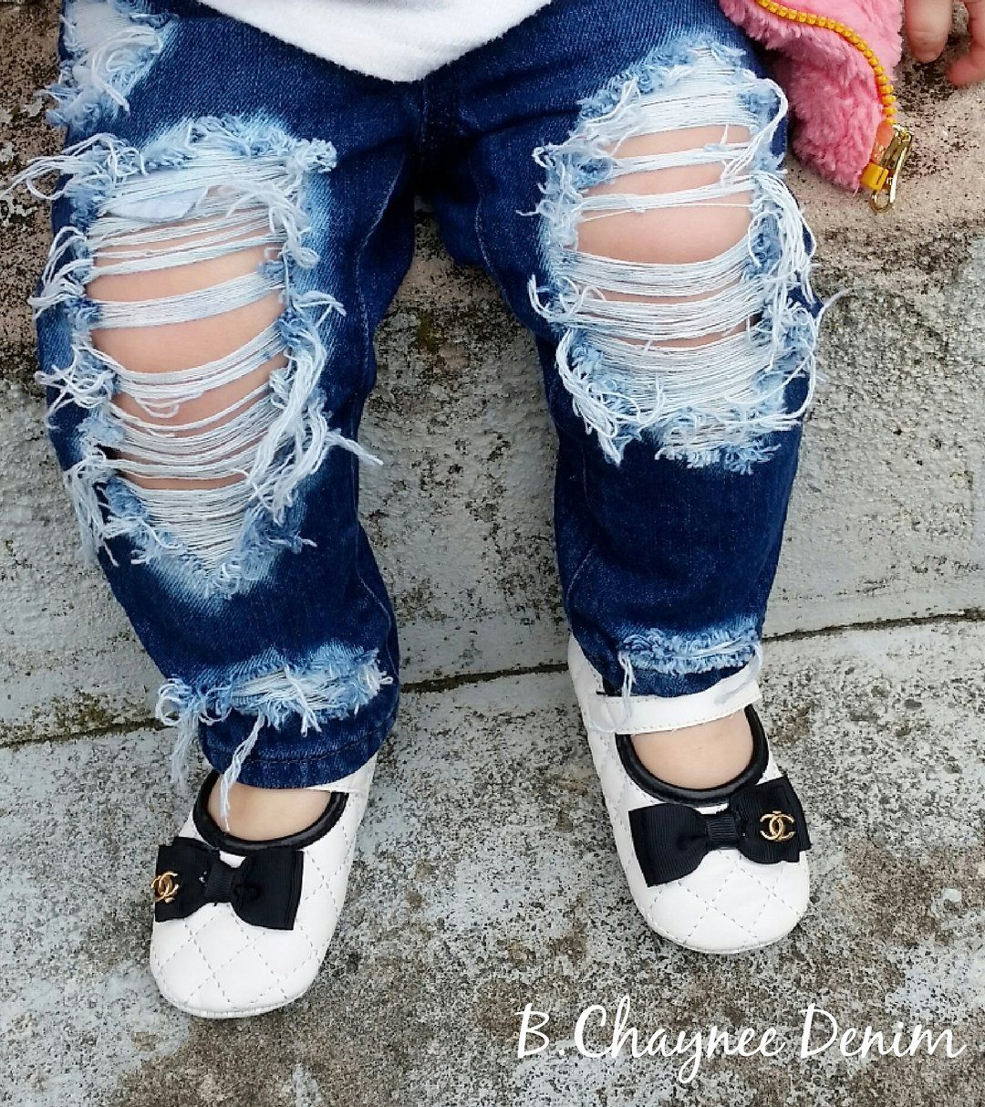 Betusline Baby Girls Ripped Jeans Denim Pants