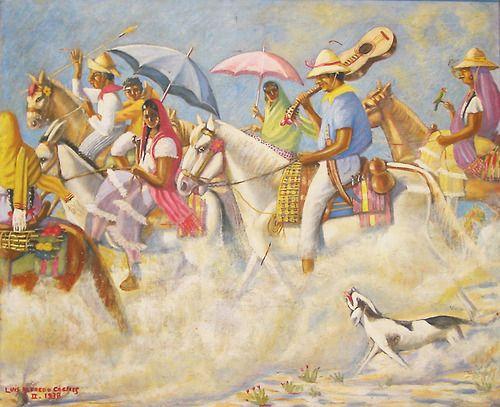 Luis Alfredo Cáceres Madrid|1908-1952| Salvadoran La romería|1938|Óleo sobre lienzo|Colección privada