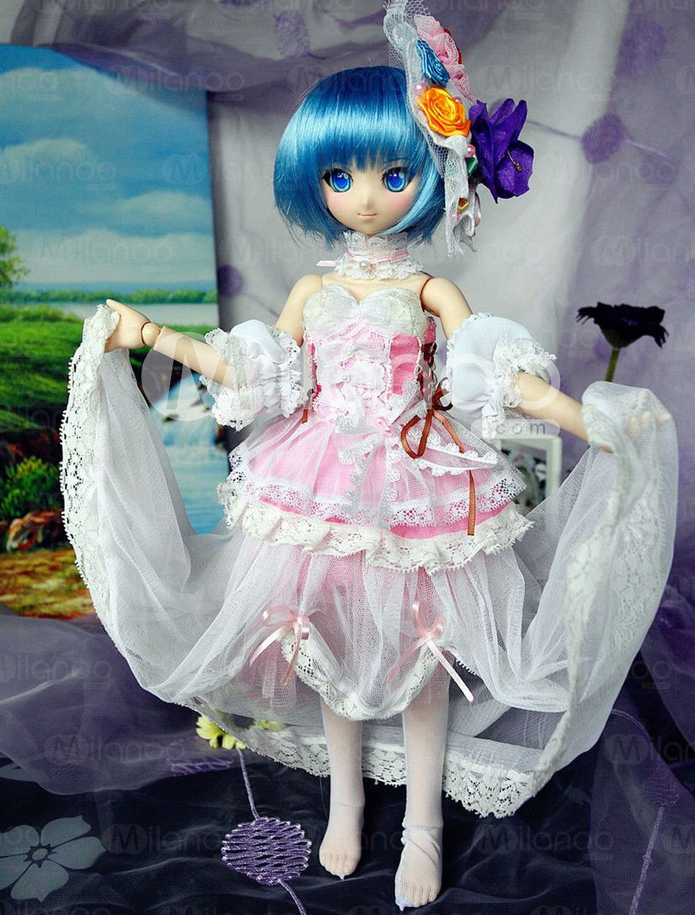 Sweet Pink Cotton BJD Doll Western Style Cloth - Milanoo.com