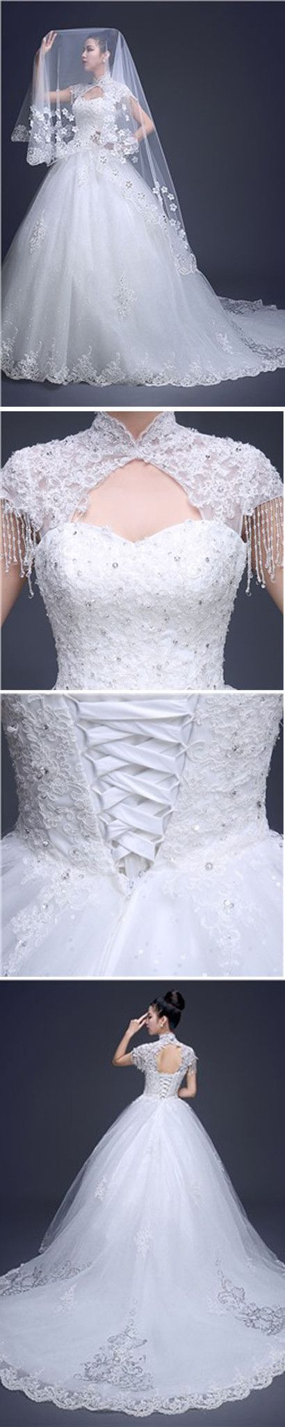 Charming High Neck Cap Sleeve Long A-line Open Back Lace Tulle ...