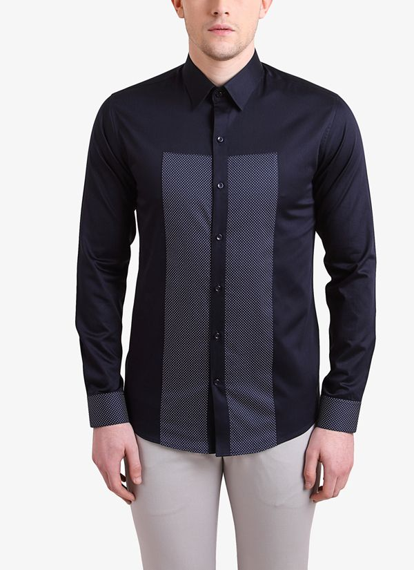 52cbbb55034a Navy Blue Printed Slim Fit Shirt in 2019 | Mens | Shirts, Workout ...