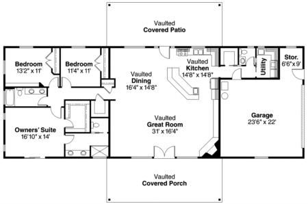 House Plan 035 00349 Cabin Plan 2 145 Square Feet 3 Bedrooms 2 5 Bathrooms In 2021 Floor Plans Ranch Ranch House Floor Plans Rectangle House Plans