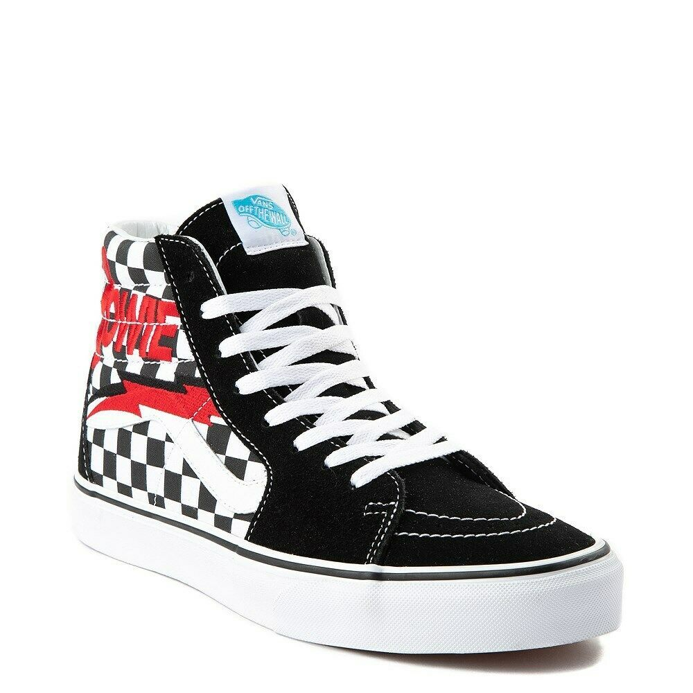 45203c156a Details about Vans Sk8 Hi Mix Match Red Navy Blue Checker Black White Mens    Kids Boys Girls