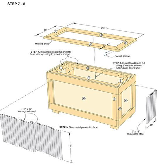 Building Plans For A Wood And Corrugated Metal Planter
