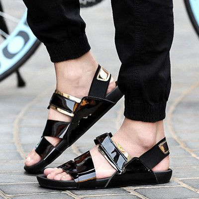 e6152565c9 New arrival 2016 summer male sandals men gold leather shoes open toe ...