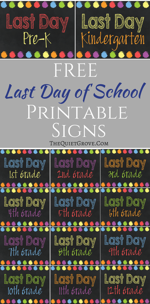 photo about Printable Quiet Signs referred to as Cost-free Printable Remaining Working day of College or university Indicators! Do it yourself Faculty