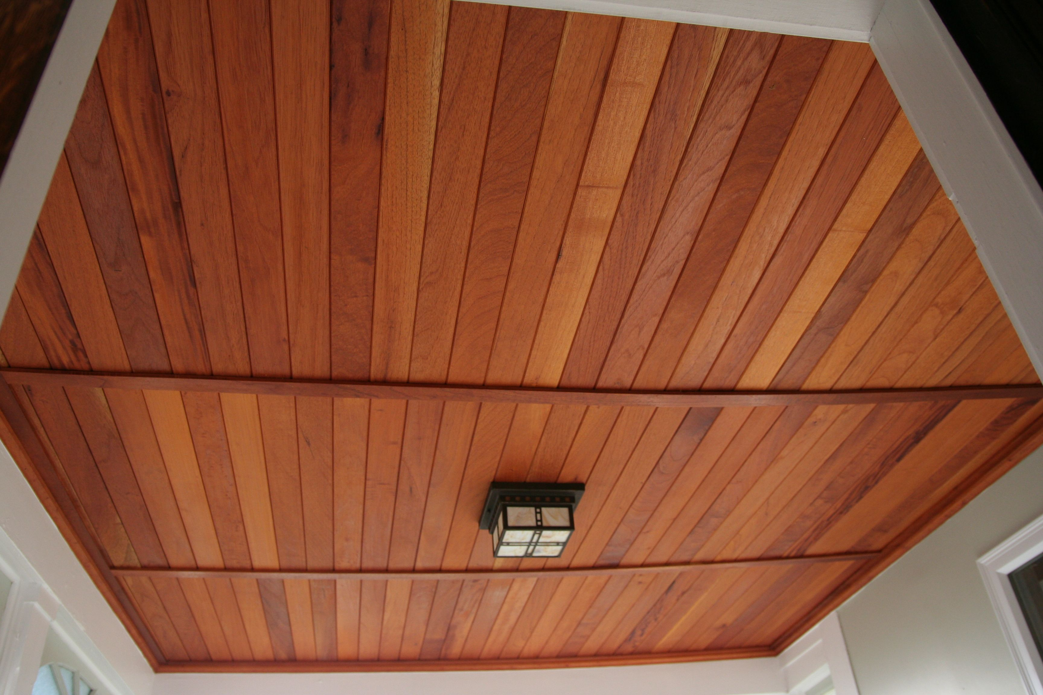 Grusby Woodworks Entry Entryway Porch Ceiling Spanish Cedar Tongue And Groove Recessed Panel Cedar Tongue And Groove Cedar Paneling Porch Ceiling
