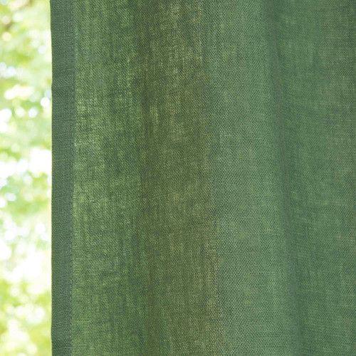 Rideau A œillets En Lin Lave Vert Sapin 130 X 300 Cm Maisons Du Monde Rideaux Vert Sapin Rideaux Oeillets