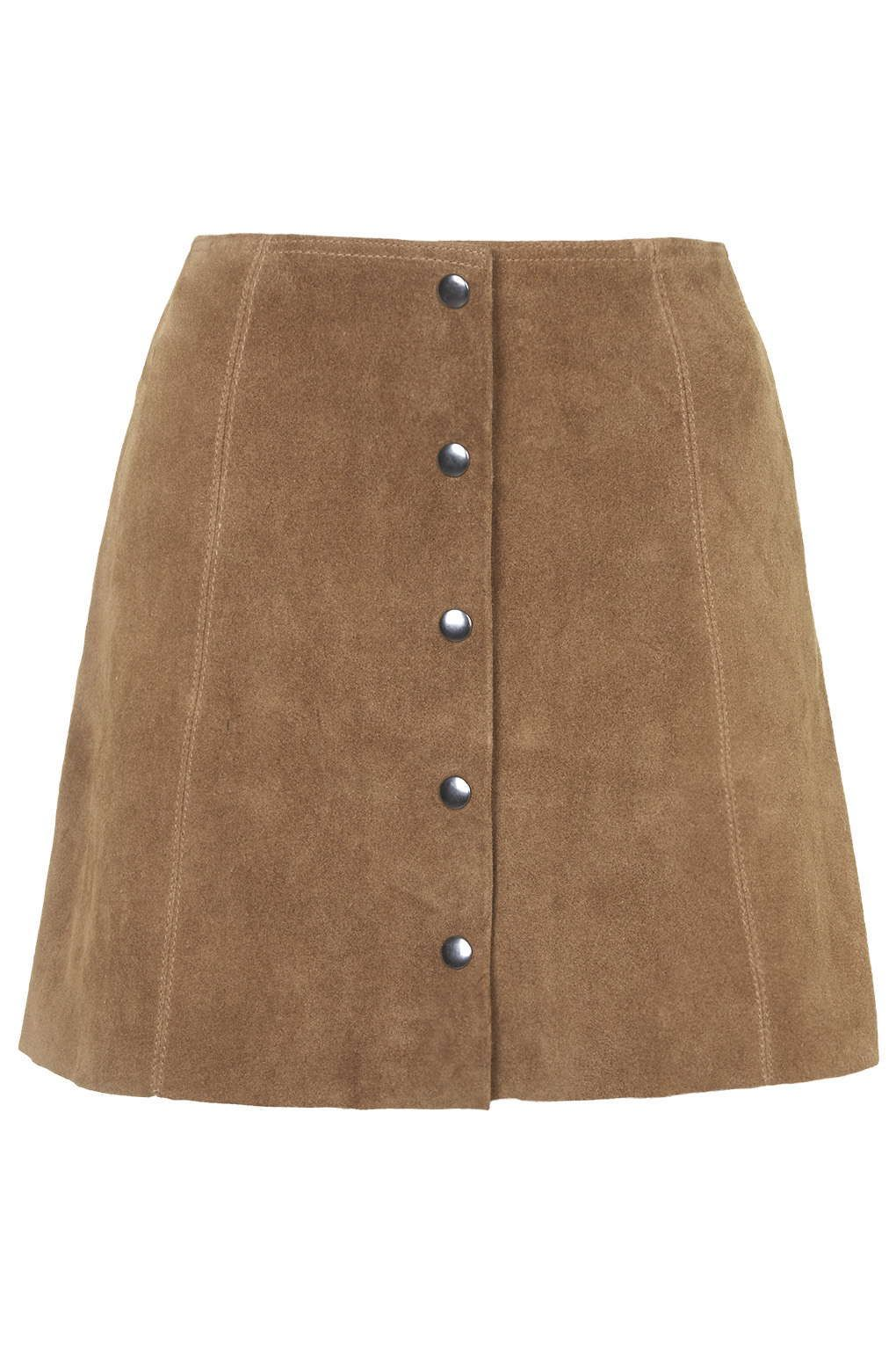 PETITE Suede Button Front A-Line Skirt - Petite - Clothing - Topshop