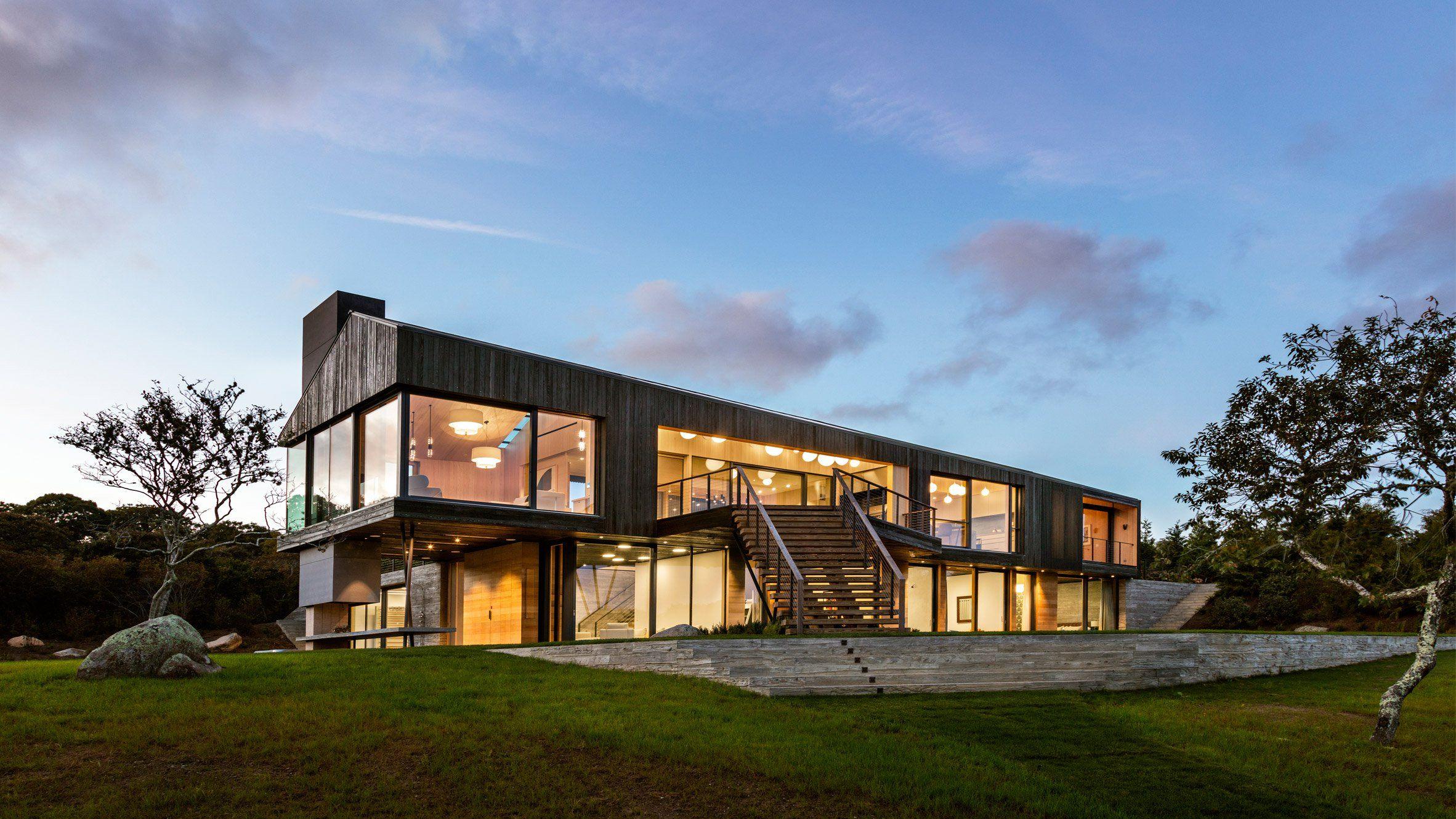 Martha\'s Vineyard modern home is all glass walls and ocean views ...