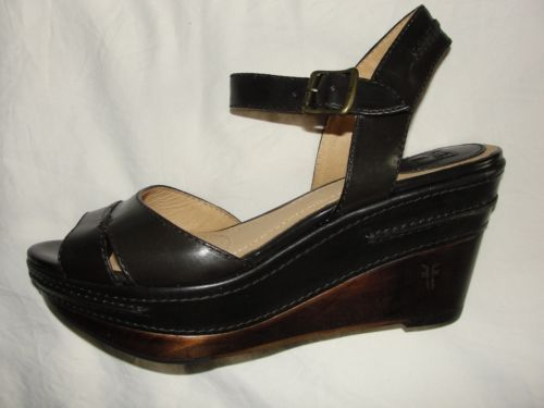 NEW-248-FRYE-CARLIE-SEAM-DARK-BROWN-LEATHER-WEDGE-HEEL-SANDAL-SHOE-8-5
