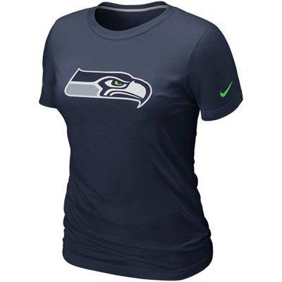 2a61b09a3a5 Nike Seattle Seahawks Women s Basic Logo T-Shirt - Navy Blue ...
