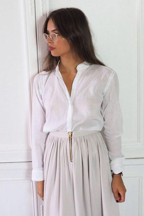 Veste blanche femme col mao