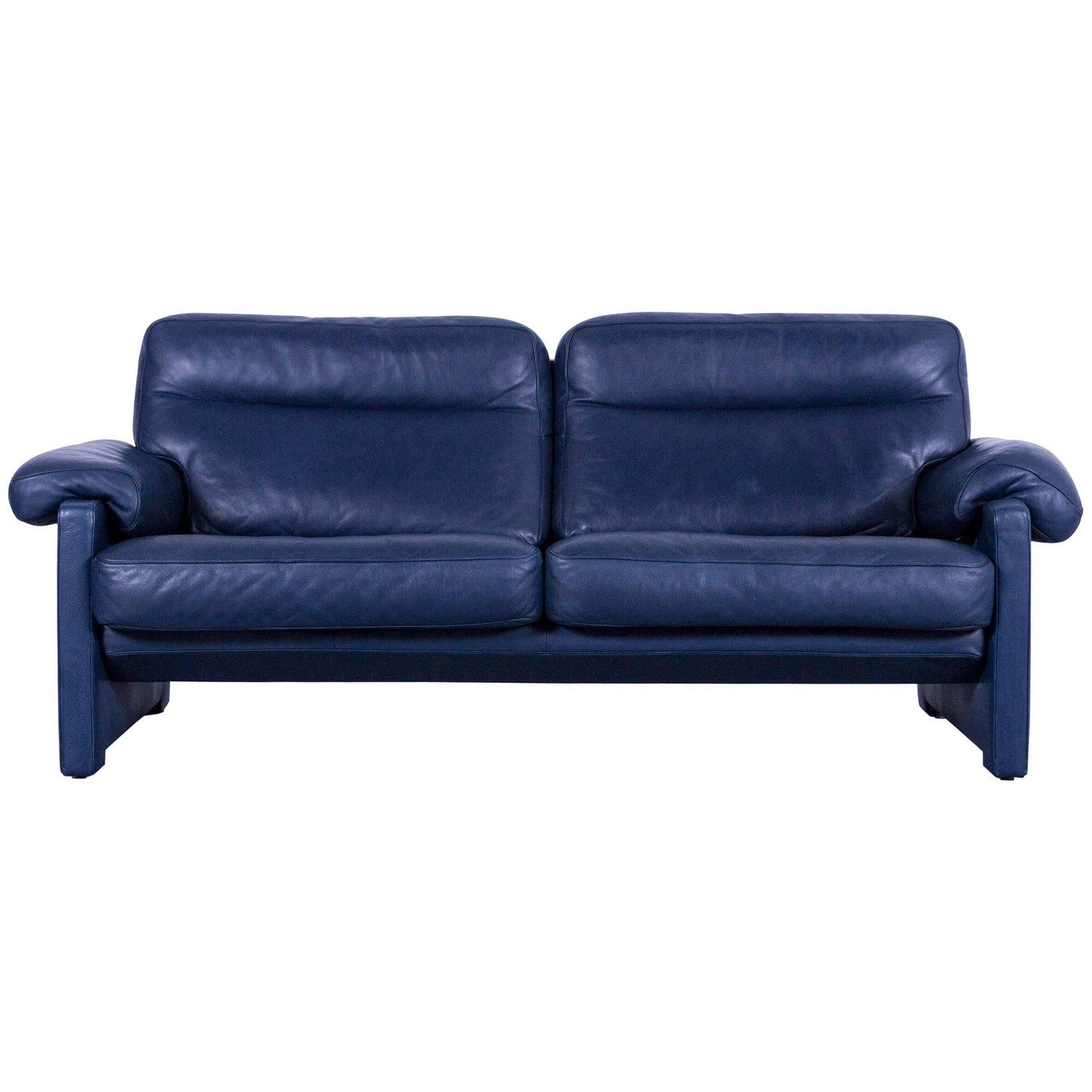 De Sede Ds 70 Designer Sofa Navy Blue Leather Two Seat Couch