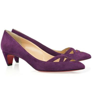 Christian Louboutin Manue 45Mm Velvet Kitten Heel Pumps Purple Red ...