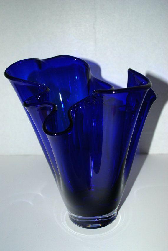 Sale Cobalt Blue Glass Vase Free Form By Capecodgypsy