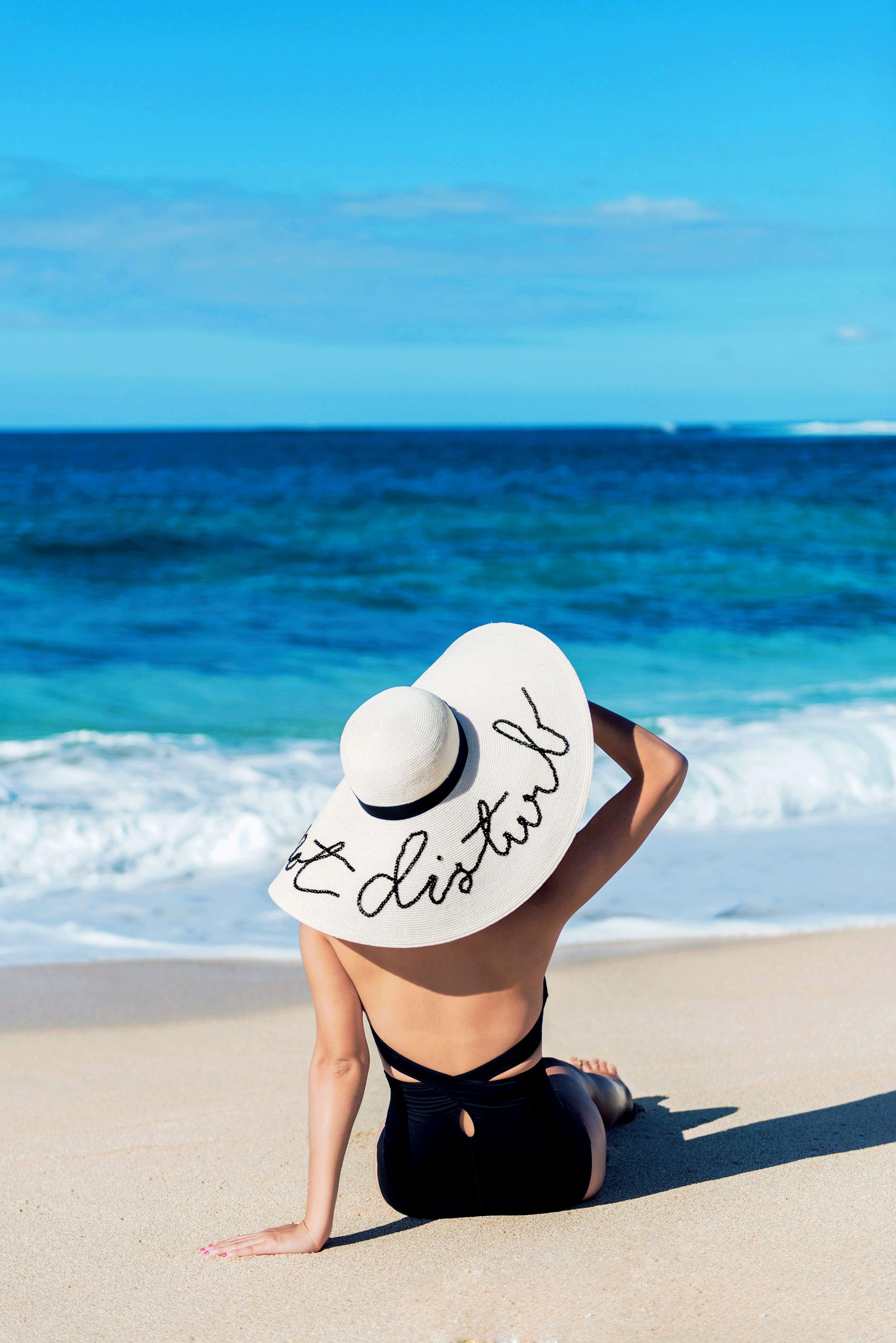 Miss Eugenia - Nicole Warne wear Ephemera One Piece Swimsuit   Eugenia Kim   Do Not Distrub Hat  d3ae72747e1