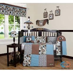 GEENNY Designs Blue Brown Scribble 13-pcs Crib Set. Amzing Price at Sears.com....$89.99!!