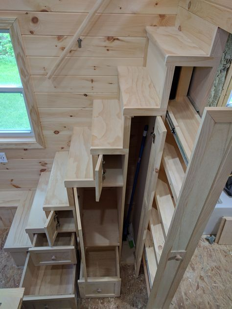 Photo of Tiny House Stairs with Storage Shelves and Pantry – TinyHome.io