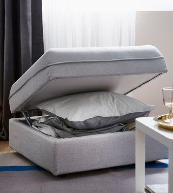 vallentuna sitzelement mit aufbewahrung mit bezug orrsta in hellgrau ge ffnet mit bettw sche. Black Bedroom Furniture Sets. Home Design Ideas