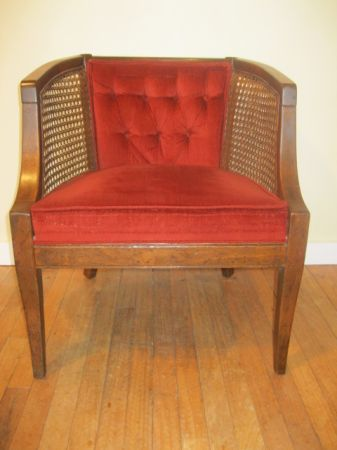 Seattle: { Vintage Red Velvet Cane Occasional Chair } $100   Http://