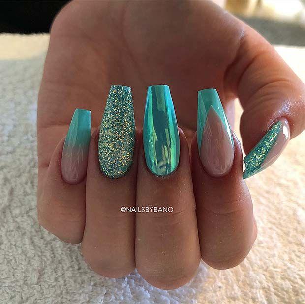 43 Beautiful Nail Art Designs For Coffin Nails Nails Teal Nails Beauty Nails