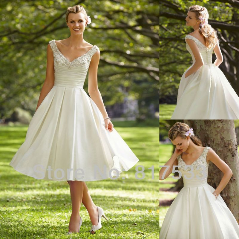 loveforever wedding dress elegant lace tea length dresses satin v ...