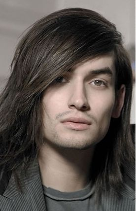 Long Man Hairstyle Iwth Layers And Very Long Side Bangs In Dark Hair Long Hair Styles Men Straight Hairstyles Medium Hair Styles