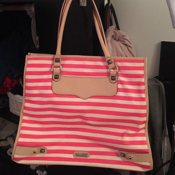 REBECCA Minkoff Tote Neon pink / white striped tote with nude leather Rebecca Minkoff Bags Totes
