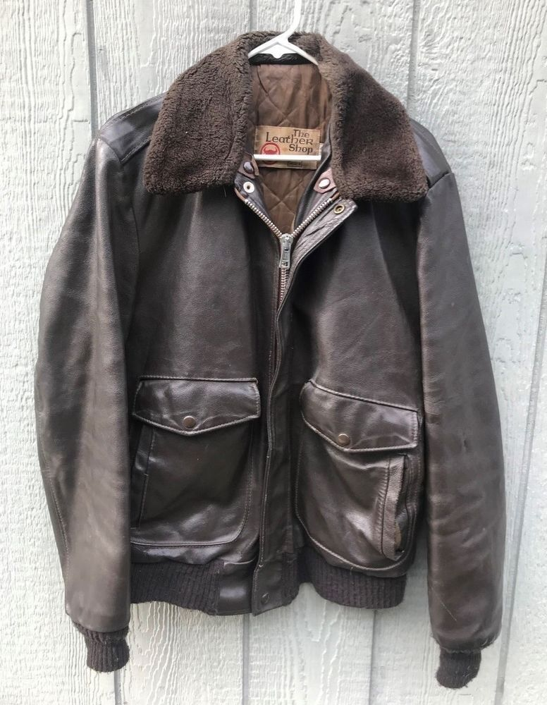 574f094bd Vintage 1980's Sears Leather Shop Brown G-1 A-2 Leather Flight ...
