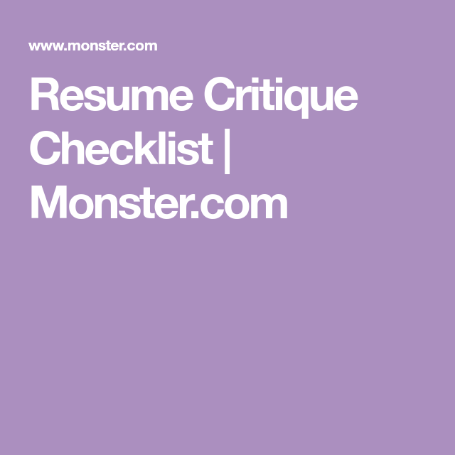 Is your resume the best it can be? Use this resume critique ...