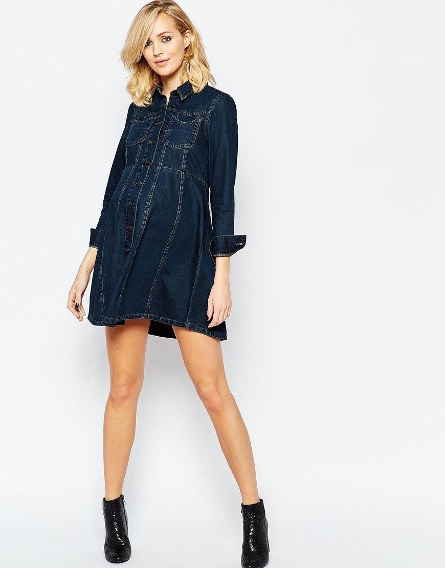 4ed7107f69111b Maternity - Robe chemise en jean style western avec jupe ...