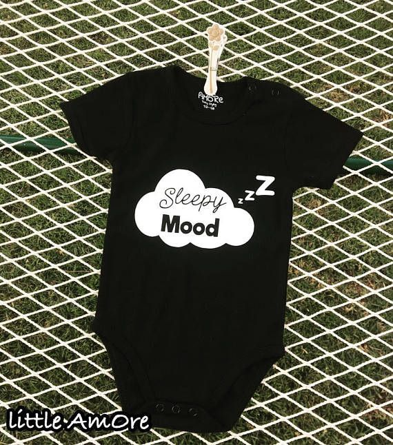 Sleepy Mood Custom Baby Onesie Custom Print Pajamas Baby Etsy