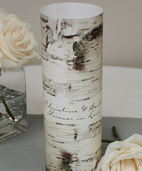 This would look really pretty with the birch bark cake I posted previously. Birch Bark Vellum Luminary Wrap with sticker