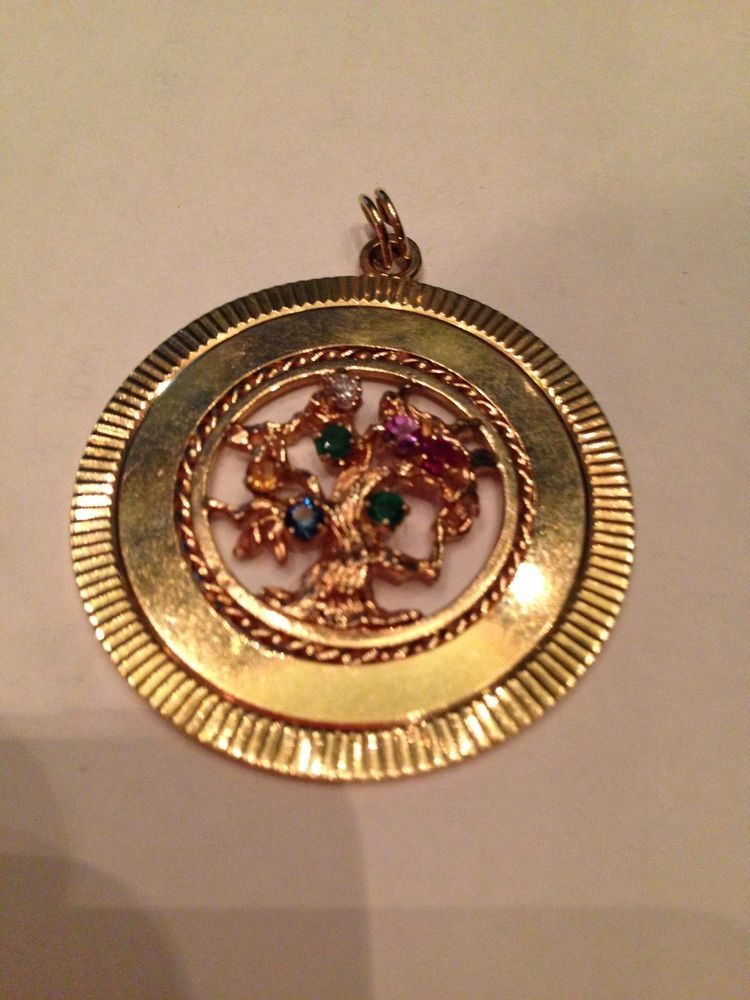 "14k gold 1960 vintage TREE OF LIFE PENDANT CHARM 18g  ""DEAREST"" MULTI-STONE"