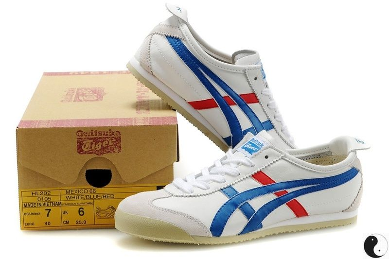 Onitsuka Tiger Mexico 66 White Blue Red Leather Trainers