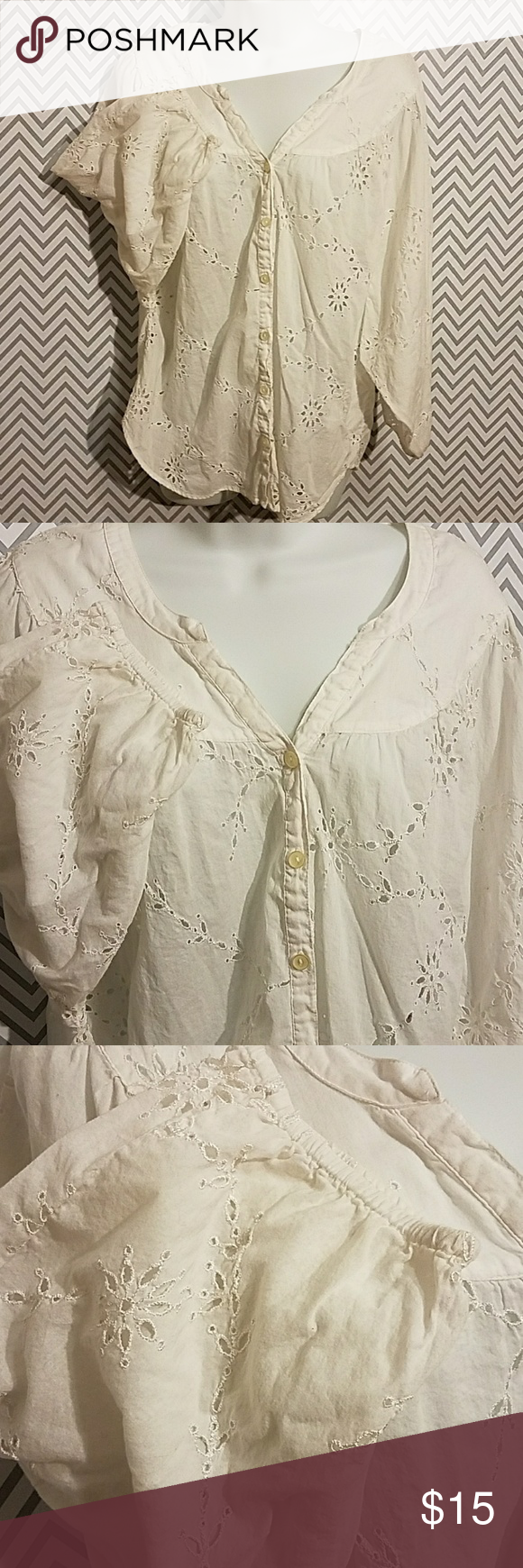 Lucky Brand girly boho white embroidered blouse So romantic and girly. 100% cotton pilot button down blouse with six buttons. V-neck. Elastic at the sleeves. Hi low hem. In perfect condition. Lucky Brand Tops Blouses