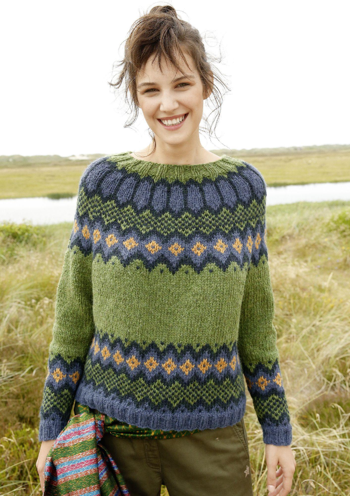 Strickanleitung Jacquard Pullover mit Rundpasse | Knitwear