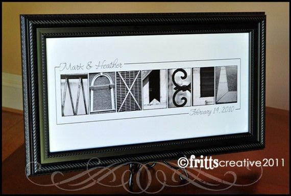 PERSONALIZED WEDDING Gfit - Alphabet Photography Black White Name ...