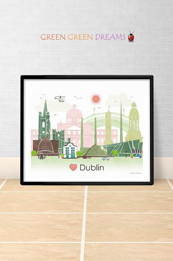Dublin Print Poster Wall Art Printable Dublin Ireland Dublin Skyline