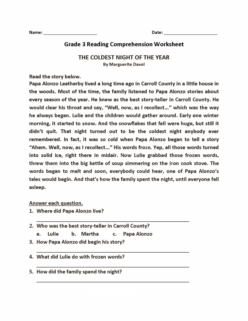 - Reading Comprehension Worksheets (With Images) Reading